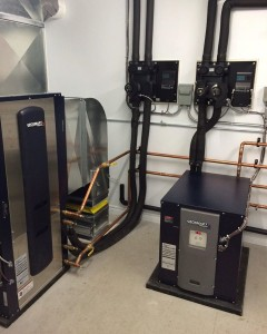 buchananandhall Mechanical room coming together geosmartenergy premiumQ and premiumH unitshellip